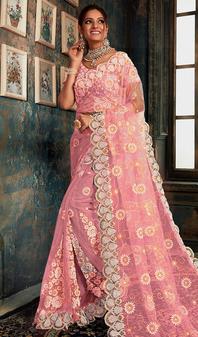 Designer Fancy Light Pink Color Net Sari