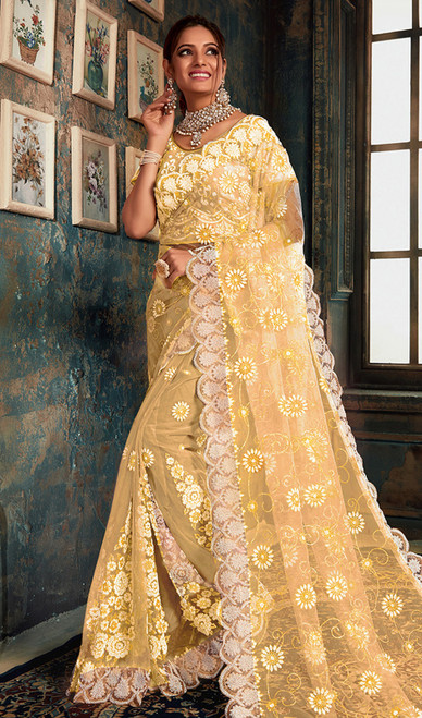 Designer Light Yellow Color Fancy Net Sari