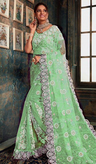 Designer Light Green Color Fancy Net Sari