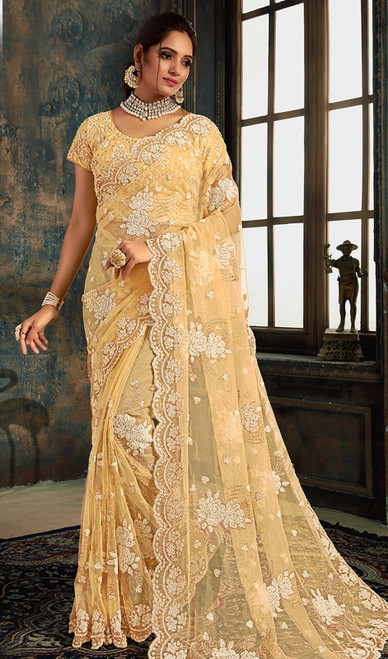 Designer Fancy Cream Color Net Sari