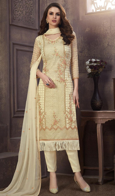 Organza Embroidered Pant Style Suit in Cream Color