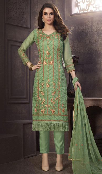 Organza Embroidered Pant Style Suit in Olive Color