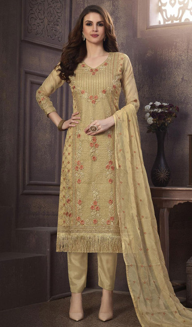 Organza Embroidered Pant Style Suit in Beige Color