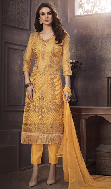 Organza Embroidered Pant Style Suit in Yellow Color