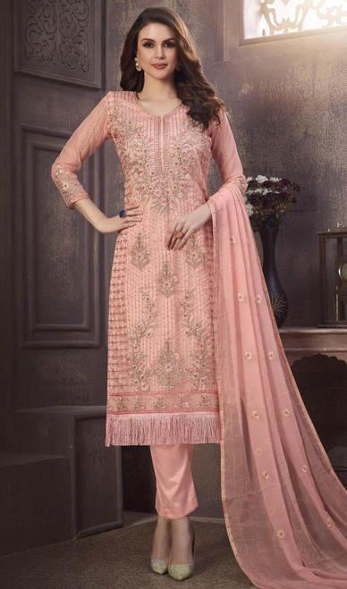 Organza Embroidered Pant Style Suit in Baby Pink Color