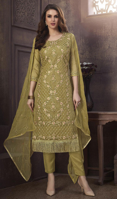 Organza Embroidered Pant Style Suit in Mehendi Green Color