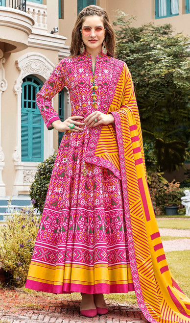 Multicolor Silk Printed Gown