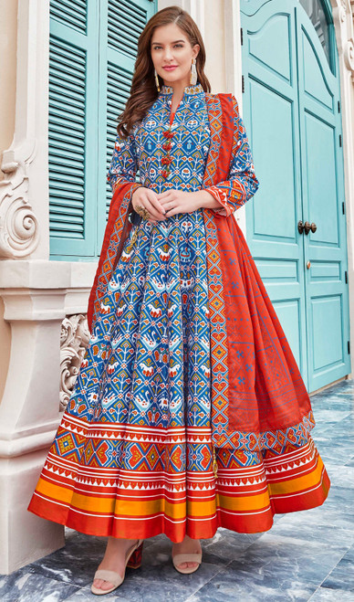 Multicolor Silk Fancy Printed Gown