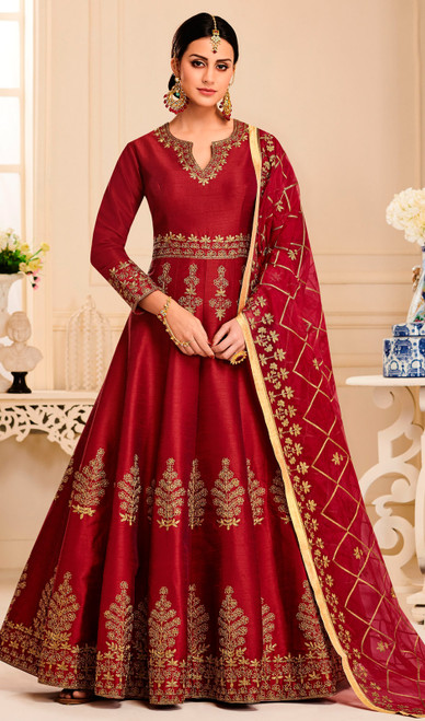 Silk Designer Embroidered Aanarkali Suit in Maroon Color