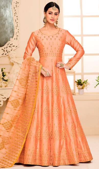 Silk Designer Embroidered Aanarkali Suit in Light Orange Color