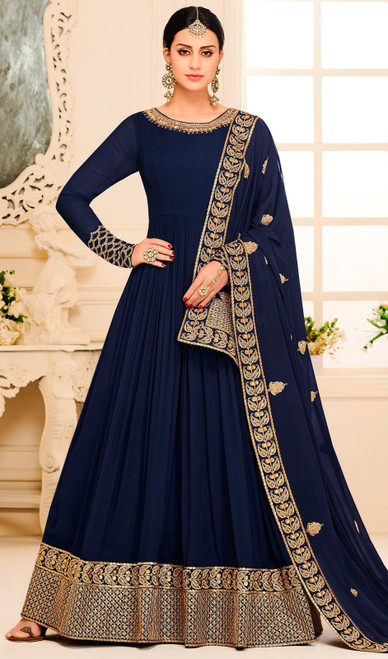 Silk Designer Embroidered Aanarkali Suit in Navy Blue Color