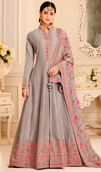 Silk Designer Embroidered Aanarkali Suit in Gray Color