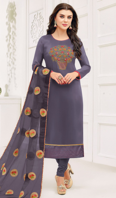 Silk Embroidered Fancy Churidar Suit in Dark Gray Color