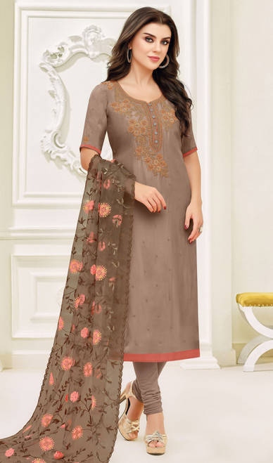 Silk Embroidered Fancy Churidar Suit in Beige Color