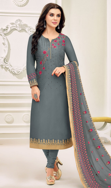 Silk Embroidered Fancy Churidar Suit in Steel Gray Color