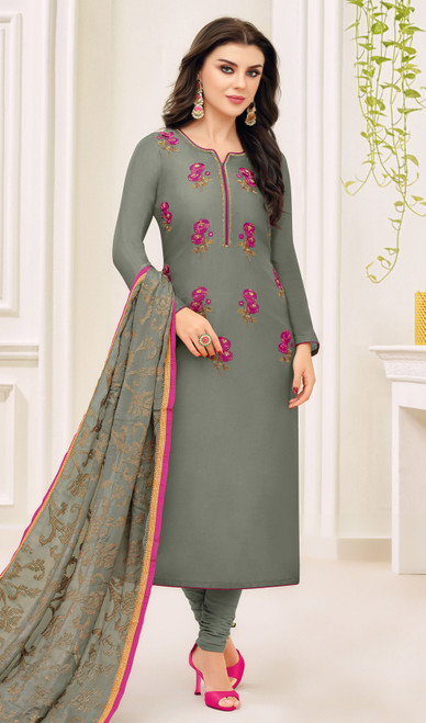 Dark Gray Color Silk Embroidered Fancy Churidar Suit