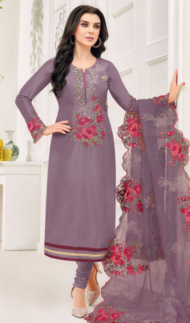 Silk Embroidered Fancy Churidar Suit in Purple Color