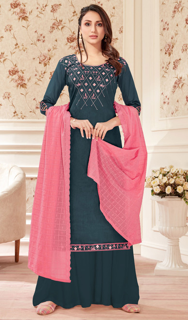 Jam Cotton Black Color Embroidered Palazzo Suit