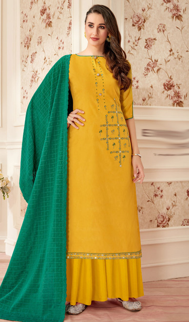 Yellow Color Jam Cotton Embroidered Palazzo Suit