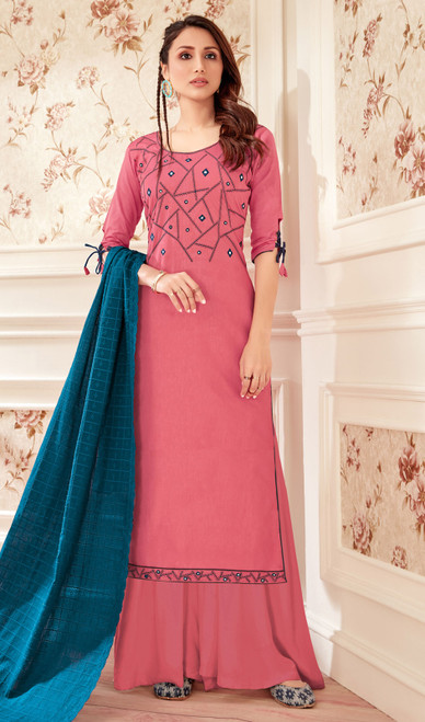 Dusty Pink Color Jam Cotton Embroidered Palazzo Suit