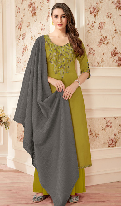 Mehendi Green Color Jam Cotton Embroidered Palazzo Suit