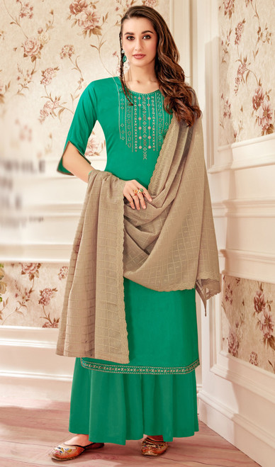 Jam Cotton Green Color Embroidered Palazzo Suit