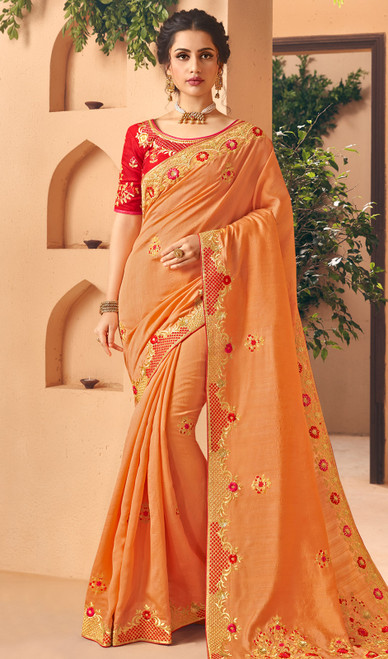 Embroidered Orange Color Silk Sari