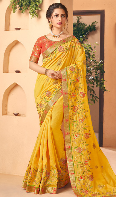 Silk Yellow Color Embroidered Sari