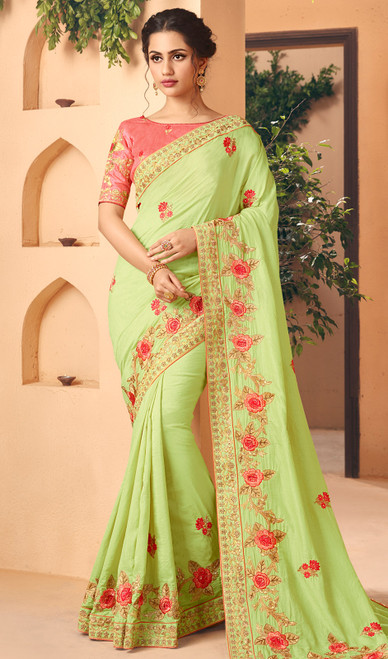 Silk Light Green Color Embroidered Sari