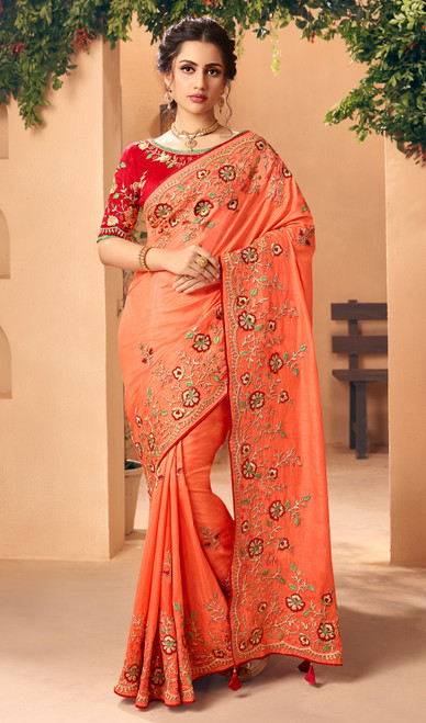 Silk Embroidered Dark Orange Color Sari