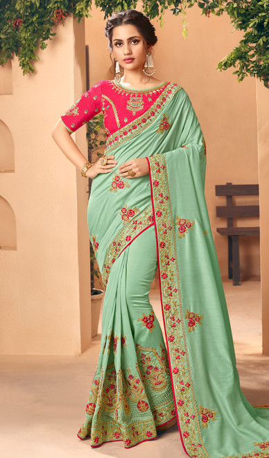 Silk Embroidered Sea Green Color Sari