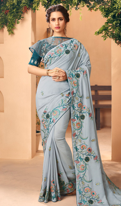 Embroidered Gray Color Silk Sari