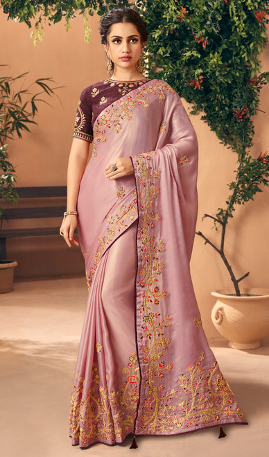 Silk Embroidered Dusty Pink Color Sari