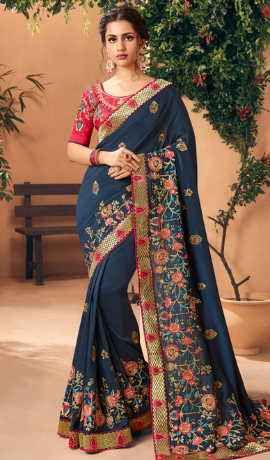 Silk Navy Blue Color Embroidered Sari