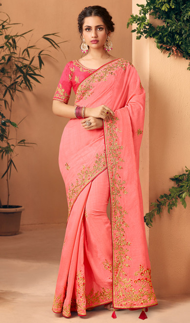 Silk Baby Pink Color Embroidered Sari