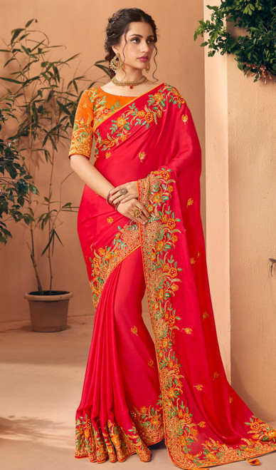 Embroidered Silk Red Color Sari
