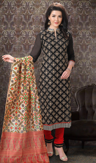 Black Color Chanderi Silk Printed Churidar Suit