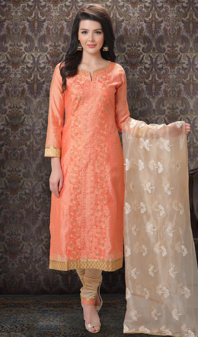 Orange Color Jacquard Silk Printed Churidar Suit
