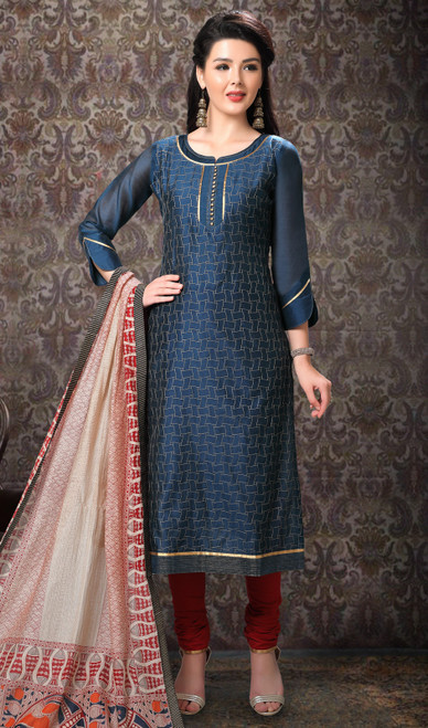 Teal Blue Color Banarasi Silk Printed Churidar Suit