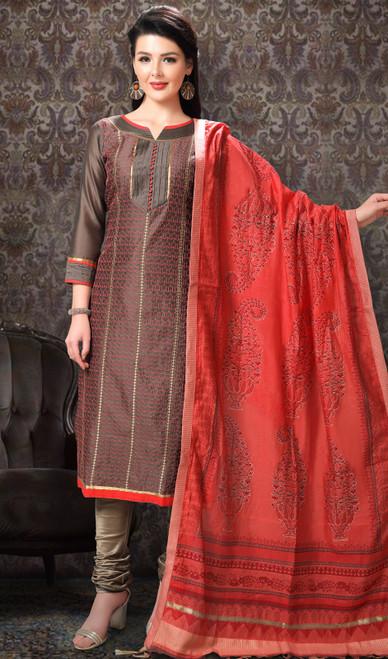 Brown Color Chanderi Silk Printed Churidar Suit