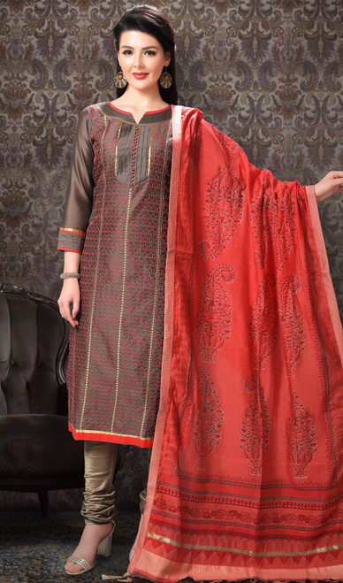 Brown Color Chanderi Silk Printed Churidar Suit