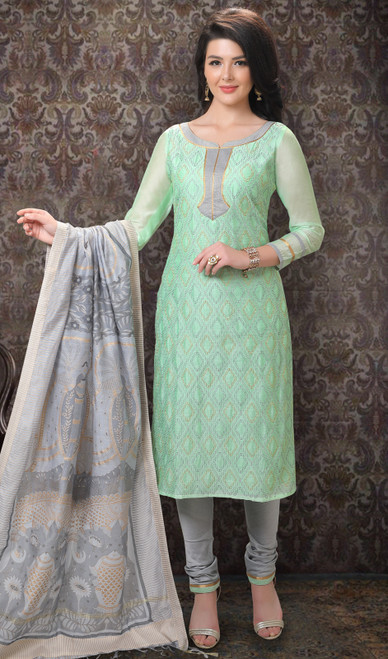 Pastel Green Color Chanderi Silk Printed Churidar Suit
