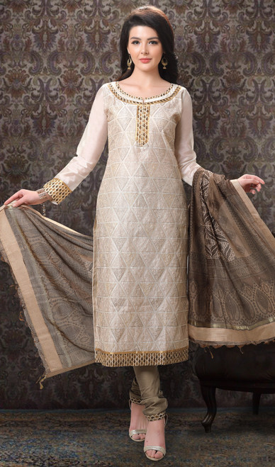 Cream Color Chanderi Silk Printed Churidar Suit