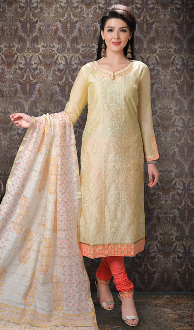 Pastel Yellow Color Chanderi Silk Printed Churidar Suit