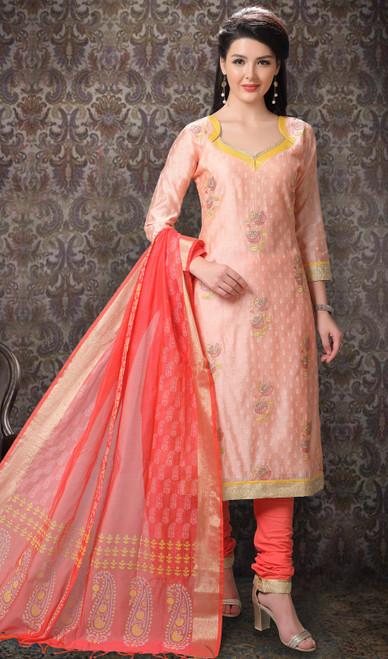 Light Peach Color Chanderi Silk Printed Churidar Suit