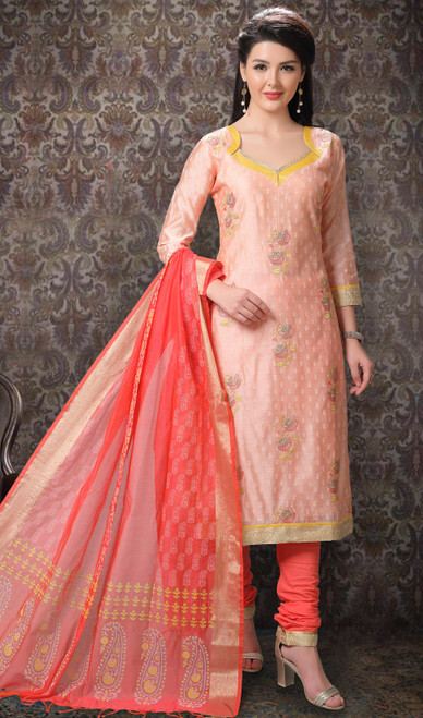 Light Peach Color Chanderi Silk Printed Churidar Suit