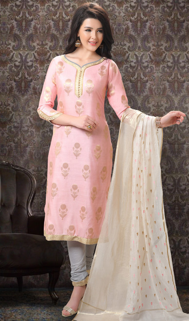 Baby Pink Color Jacquard Silk Printed Churidar Suit