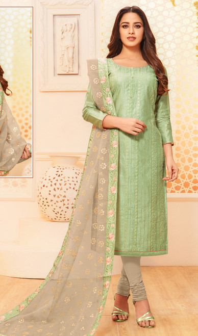 Pista Green Color Modal Silk Embroidered Churidar Dress