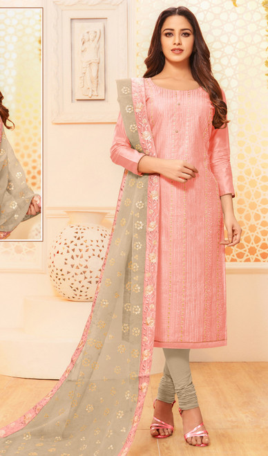 Baby Pink Color Modal Silk Embroidered Churidar Dress