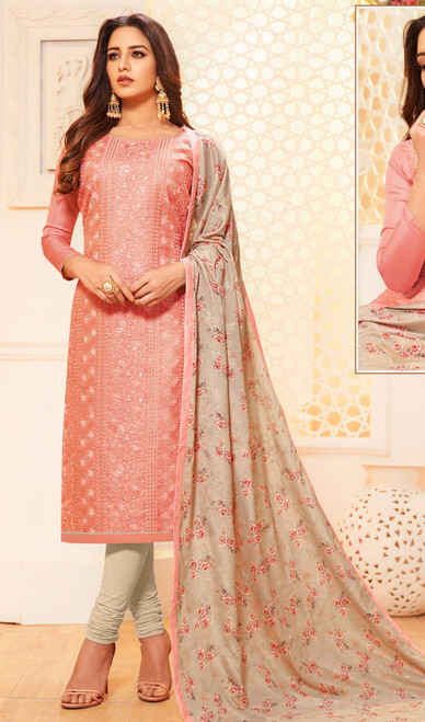 Light Peach Color Satin Silk Embroidered Churidar Dress